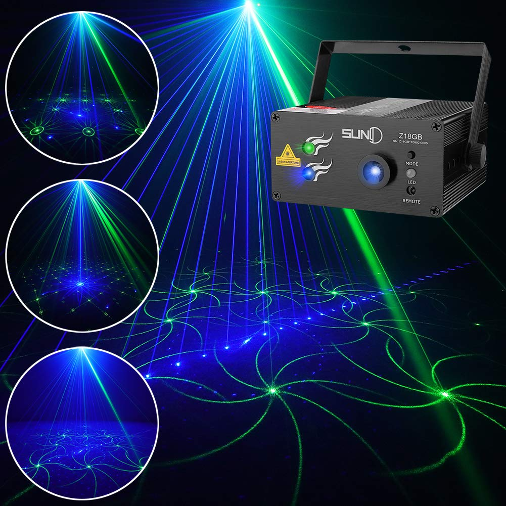 SUNY Laser Lighting for Party DJ Show 18 Patterns Green Blue Laser Lights Blue LED Light Music Laser Projector Sound Activated Remote Control Stage Lighting Dance House Show Decoration Xmas Holiday by SUNY