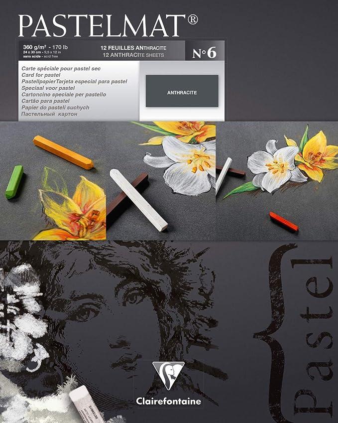 Ref:96019C CLAIREFONTAINE Paquet 5F Pastelmat gris foncé 50x70cm 360g