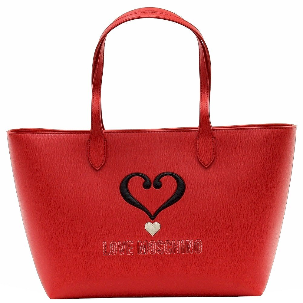 Love Moschino Women's Applied Logo Red Tote Carry-All Handbag