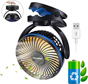 USB Battery Operated Clip on Fan Camping Fan with Night Light, JOMARTO Personal Outdoor Fan Desk Fan with Hanging Hook for Home & Office for Tent Car RV Hurricane Emergency Outages,4 Speeds, 4400mAh