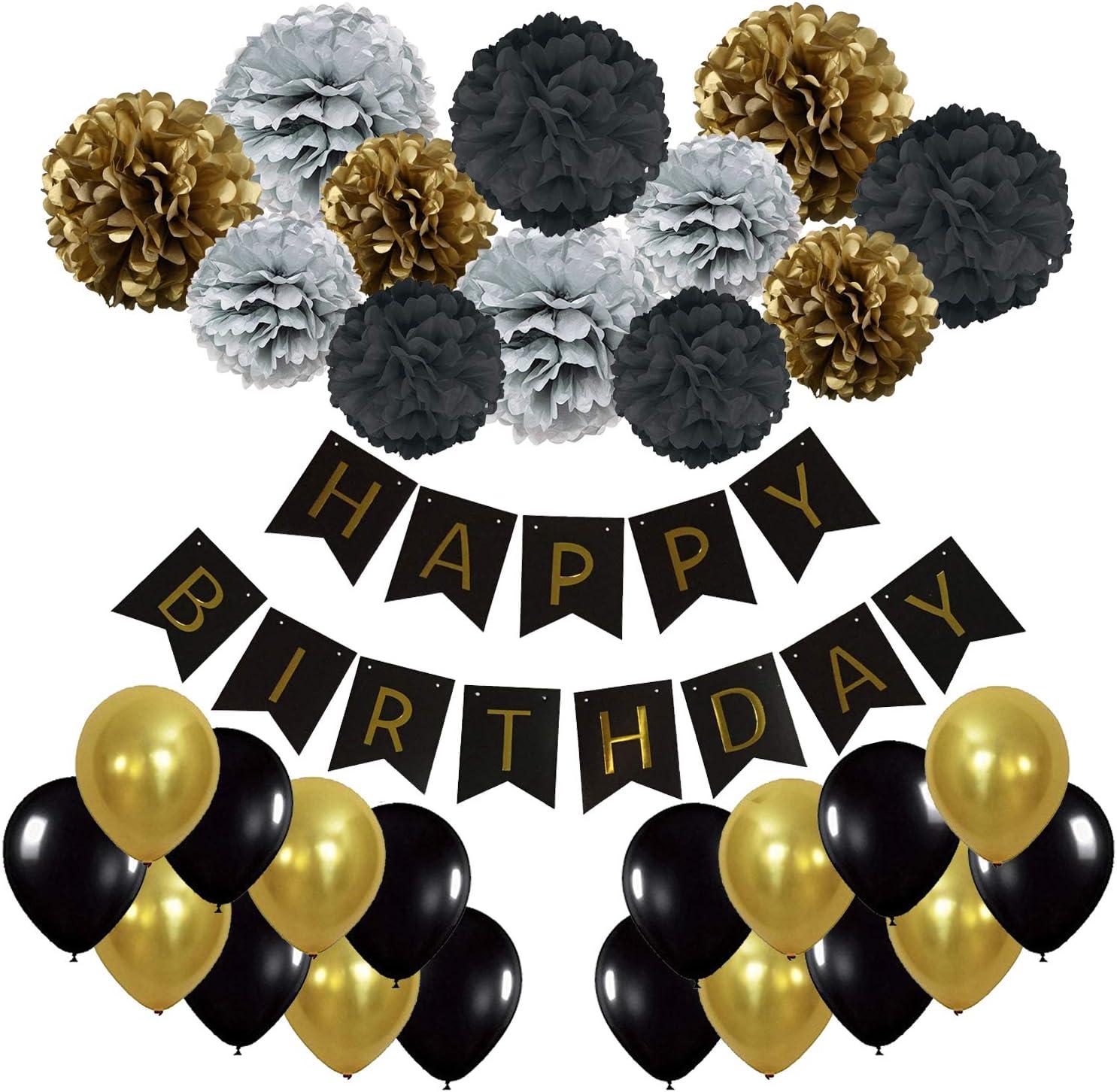 Schwarz Gold und Silber Recosis Geburtstag Party Dekoration Happy Birthday Wimpelkette Banner Girlande mit Seidenpapier Pompoms und Luftballons f/ür M/ädchen und Jungen Jeden Alters