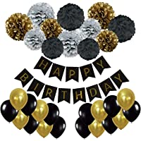 Happy Birthday Banner, Recosis Birthday Bunting Paper Garland with 12pcs Tissue Paper Pom Poms and 20pcs Balloons for Birthday Party Decorations - Black, Gold and Silver
