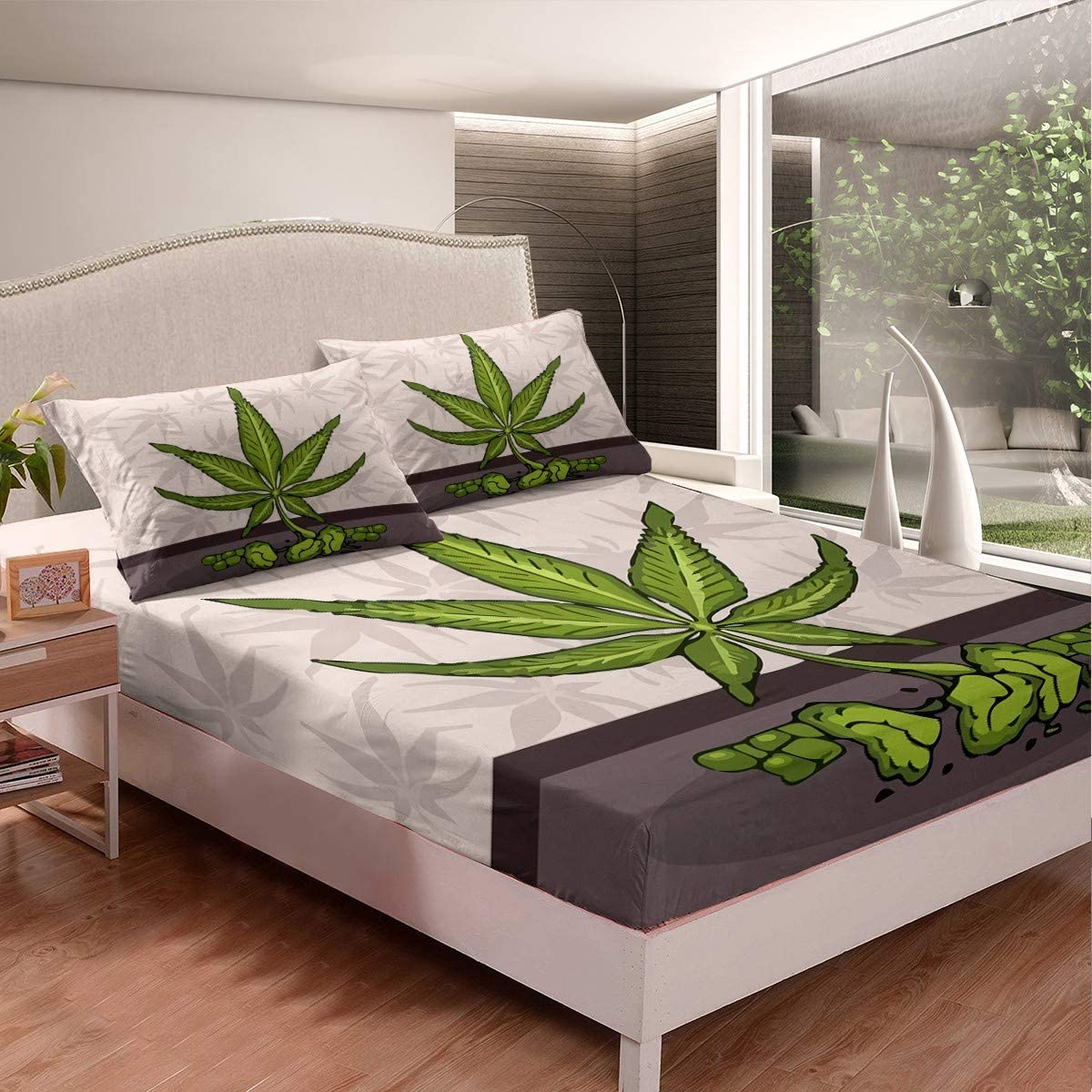 Juego de sábanas de marihuana, hojas de cannabis, sábanas para niños, niñas, marihuana, hoja de maleza, rosa, juego de sábanas con 2 fundas de almohada, 3 piezas, cama King