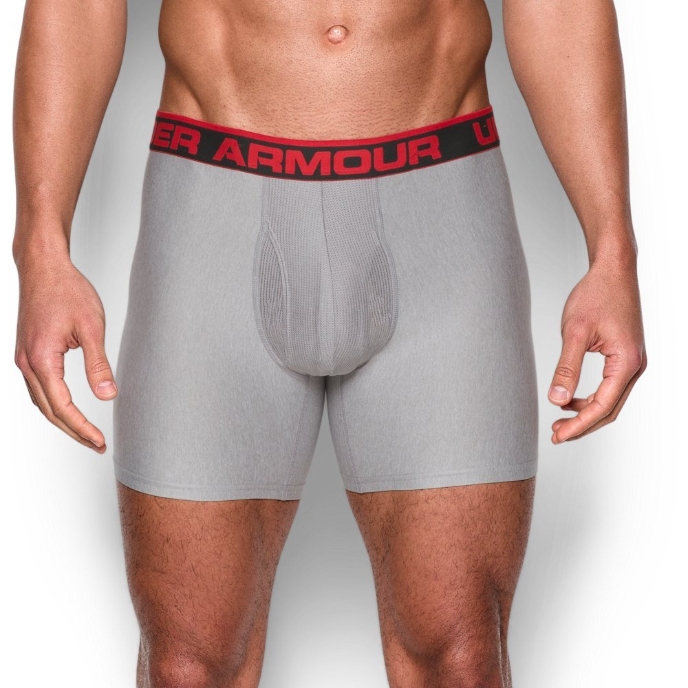 Under Armour Men's Original Series 6'' Boxerjock Boxer Briefs, True Gray Heather (025)/Red X-Large by Under Armour