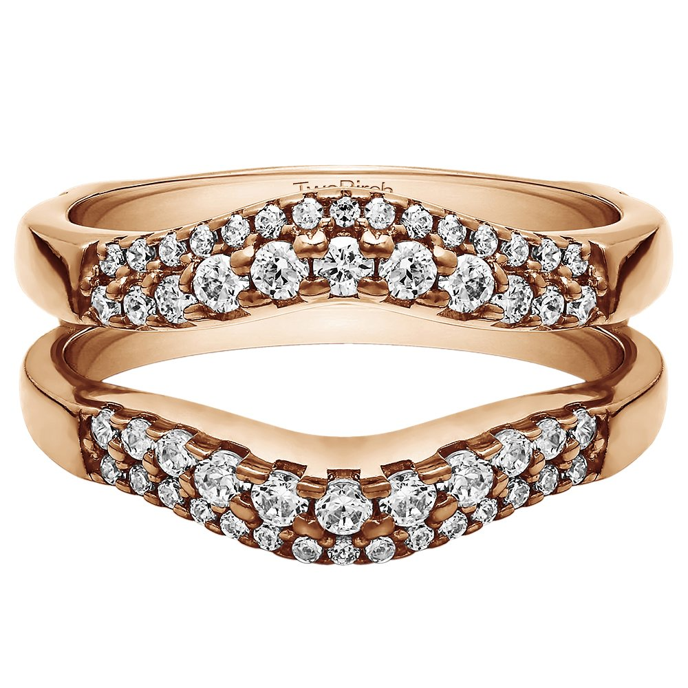 TwoBirch 0.53 ct. Cubic Zirconia Double Row Contour Shaped Ring Guard in Rose Gold Plated Sterling Silver (1/2 ct. twt.)