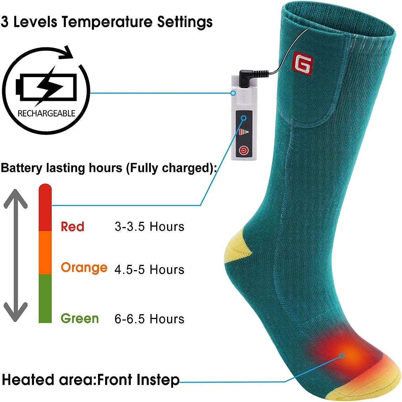 Calcetines el/éctricos con calefacci/ón bater/ía recargable Calentadores de pies de invierno Los calcetines t/érmicos de algod/ón mantienen el antepi/é y los dedos calientes para acampar al aire libre Send