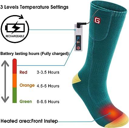 Lixada recargables el/éctricas calientes de invierno Calcetines calefactables a pilas