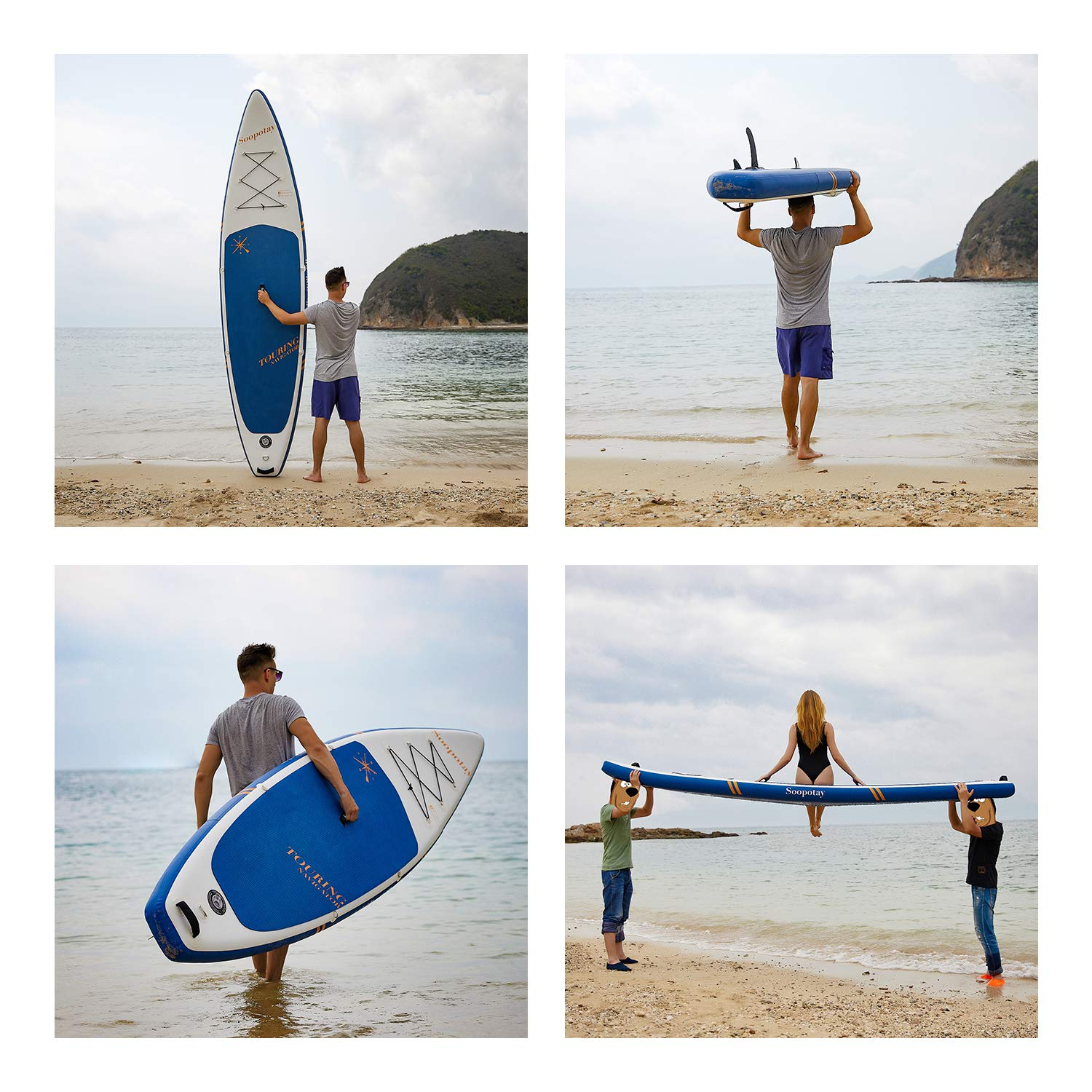 Inflatable SUP Stand Up Paddle Board, Inflatable SUP Board, iSUP Package with All Accessories (Racing-Navy Blue-12'6'' x 30'' x 6'') by Soopotay (Image #2)
