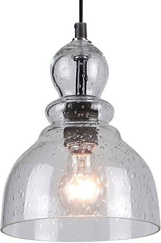 Westinghouse 6100800 Industrial One-Light Adjustable Mini Pendant with Handblown Clear Seeded Glass, Brushed Nickel Finish-2 Pack, 2-Pack, Oil Rubbed Bronze