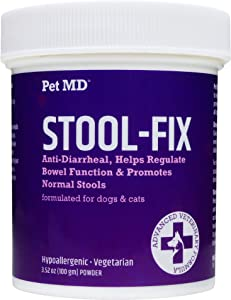 Pet MD Stool-Fix - Powdered Clay Anti Diarrhea for Dogs & Cats - Anti Diarrheal Treatment for Upset Stomach Relief, Promotes Normal Stool - 100g