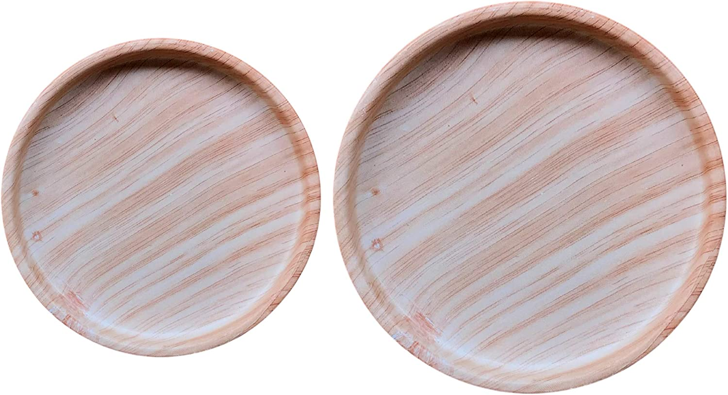 Ceramic Plant Saucer 2 Pack of 4 and 6 inch   Plant Trays for Indoors   Drip Trays   Plant Pot Saucer (Wooden Grain)