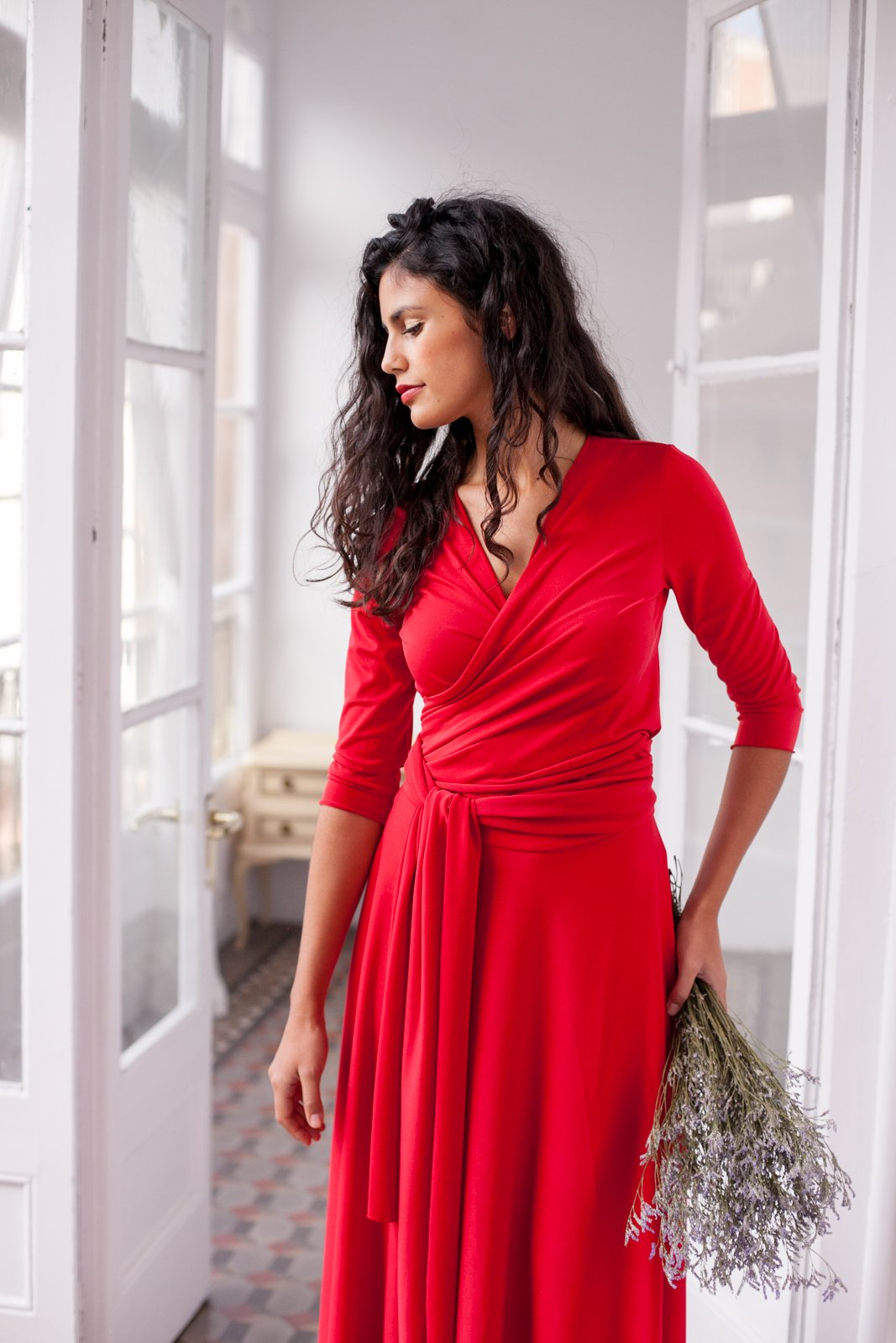 Long red multi way wrap evening dress with three quarter sleeve - Size L
