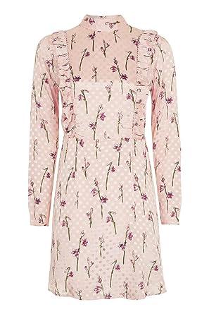 TOPSHOP SPOT JACQUARD RUFFLE SPOTTED DRESS PINK SATIN SIZE 6-16 RRP £60 (