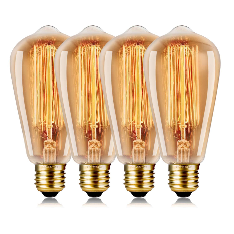 WEDNA Vintage Edison Bombilla 4 Piezas 60w Regulable ST64 E27 Tornillo 220V-240V - Edison Lá mpara de vidrio Filamento de tungsteno