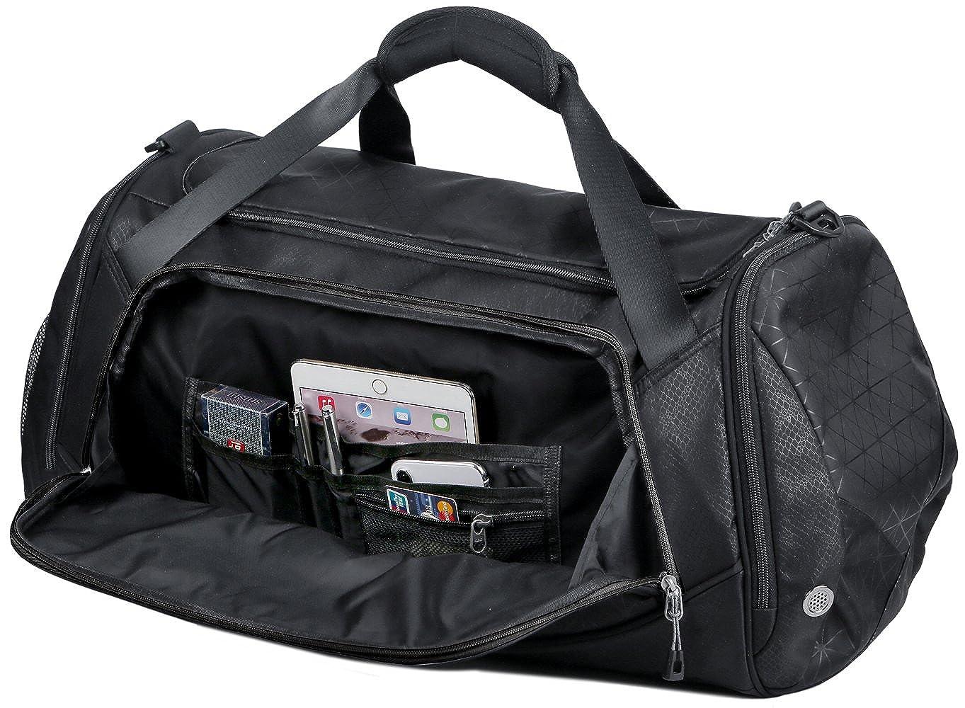 23e80ce475b Amazon.com   Sports Travel Duffel Gym Bag for Men Women with Shoes  Compartment - Mouteenoo (One Size, Black)   Sports Duffels