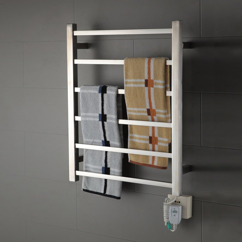 Luxrmoon Large Wall Mounted Towel Warmer,Stainless Steel Bathroom Towel Shelf Towel Drying Rack(110-120V)