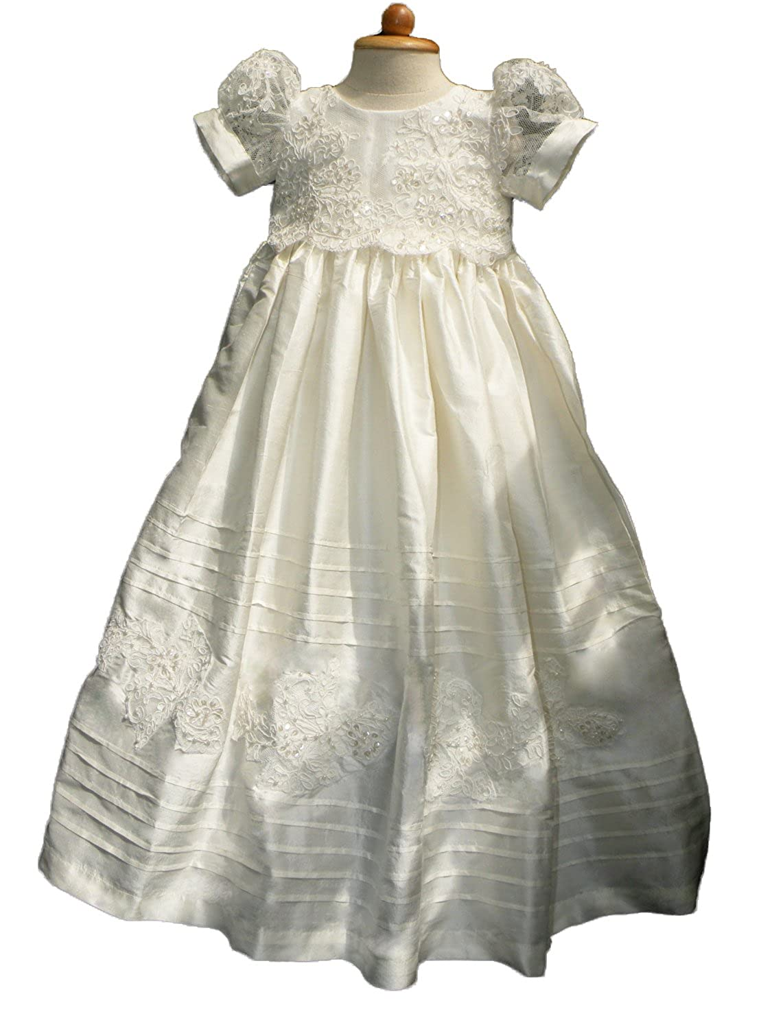 Fenghuavip Long Christening gowns for Baby Girls with pearls