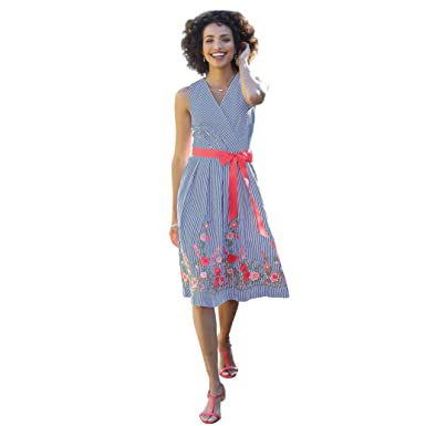7a98733807 CHADWICKS OF BOSTON Women s Misses   Petite Size Embroidered Hem Striped  Dress (Miss
