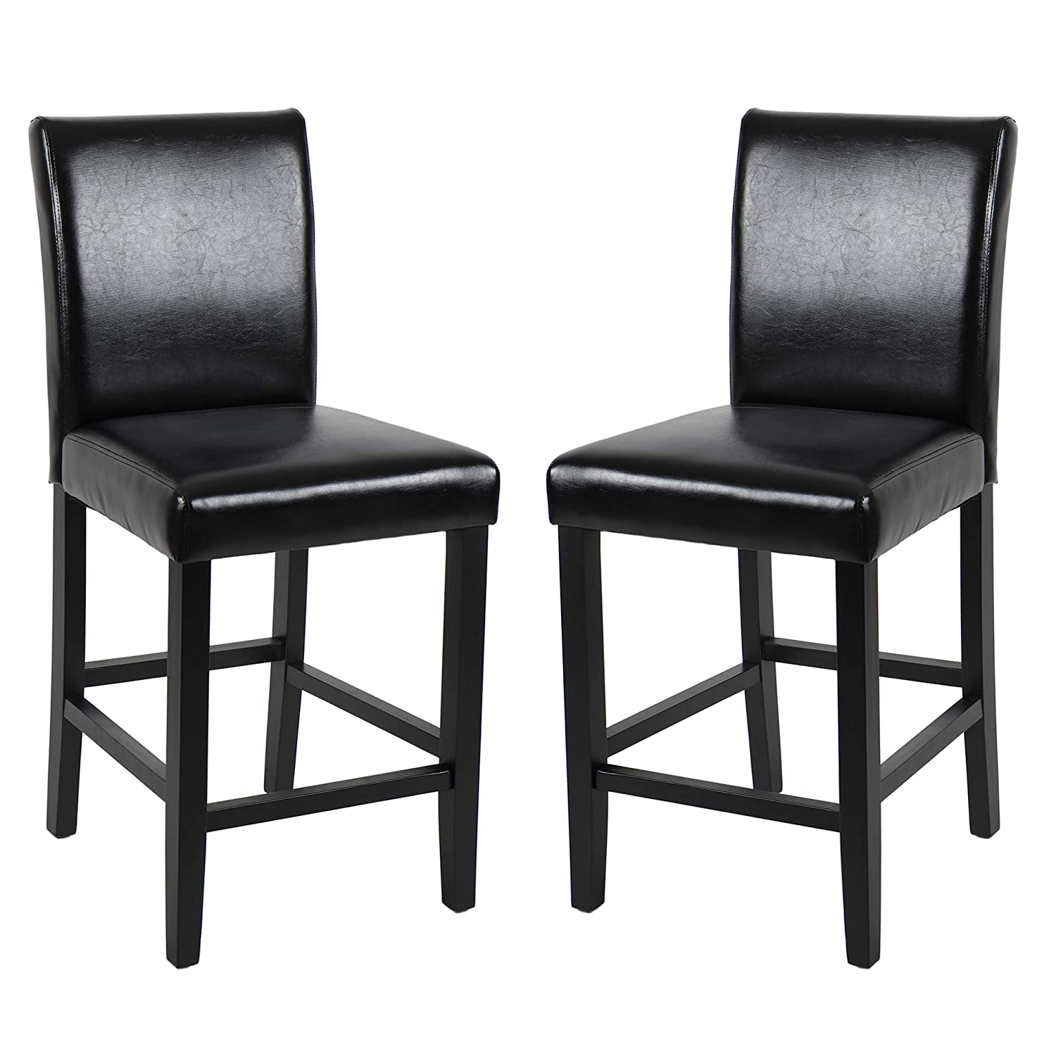 Super Gotminsi Classic 24 Counter Height Stools Upholstered Bar Stools With Solid Wood Legs And Black Leather Set Of 2 Black Cjindustries Chair Design For Home Cjindustriesco