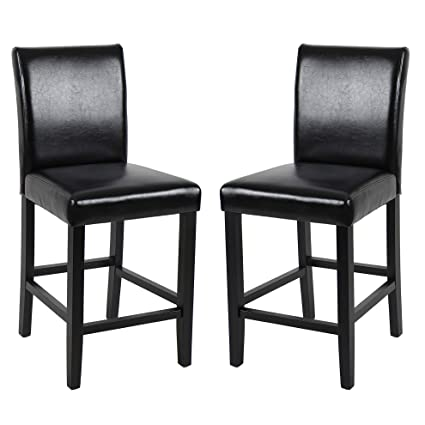 Superb Gotminsi Classic 24 Counter Height Stools Upholstered Bar Stools With Solid Wood Legs And Black Leather Set Of 2 Black Uwap Interior Chair Design Uwaporg