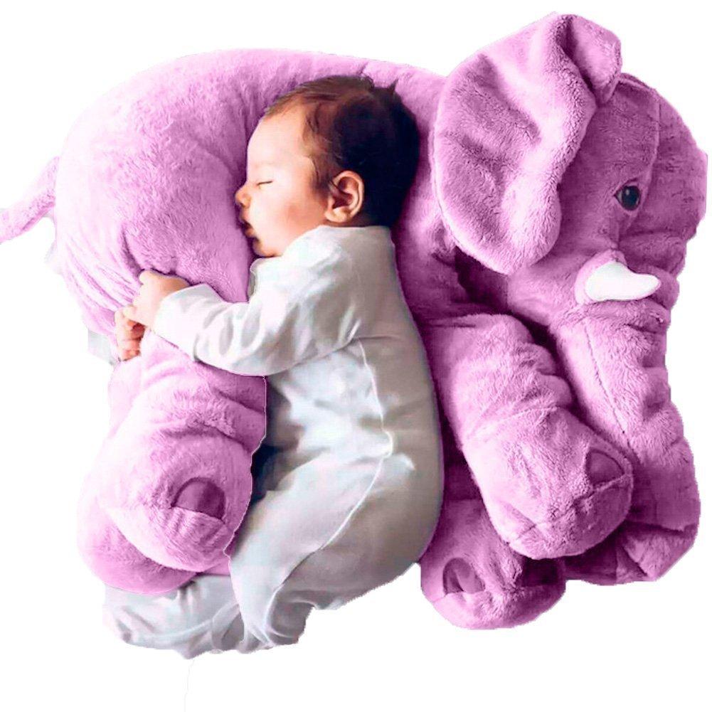 ZZYOU Elephant Pillow Soft Animal Toy Baby Fluffy Giant Snuggle Elephant Plush Pillow Beige, Small