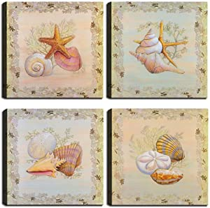 Morden Wall Decor Canvas Paintings Starfish Shell Conch Seaweed Print Seashell Artwork Beige Background Picture Framed Ready to Hang for Bathroom Kitchen Living Room (24''W x 24''H x 4 Panels)