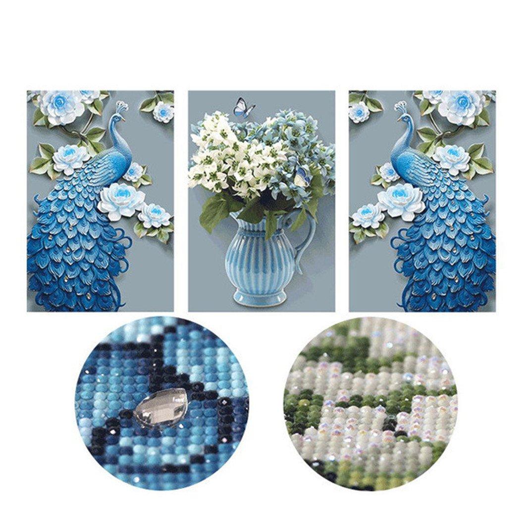 Mazixun ''3-picture''DIY Diamond Painting''Flowers Peacock''Diamond Embroidery Full Diamond Mosaic Bead Set Picture Home Decor