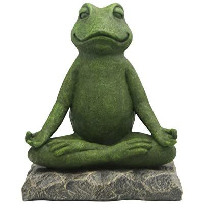 Buddha Groove Meditating Garden Yoga Frog Statue in Artistic Textured Finish | Made of Cast Stone | for Indoor & Outdoor Use | Sturdy Construction, Measures 11 Inches Tall: Home & Kitchen