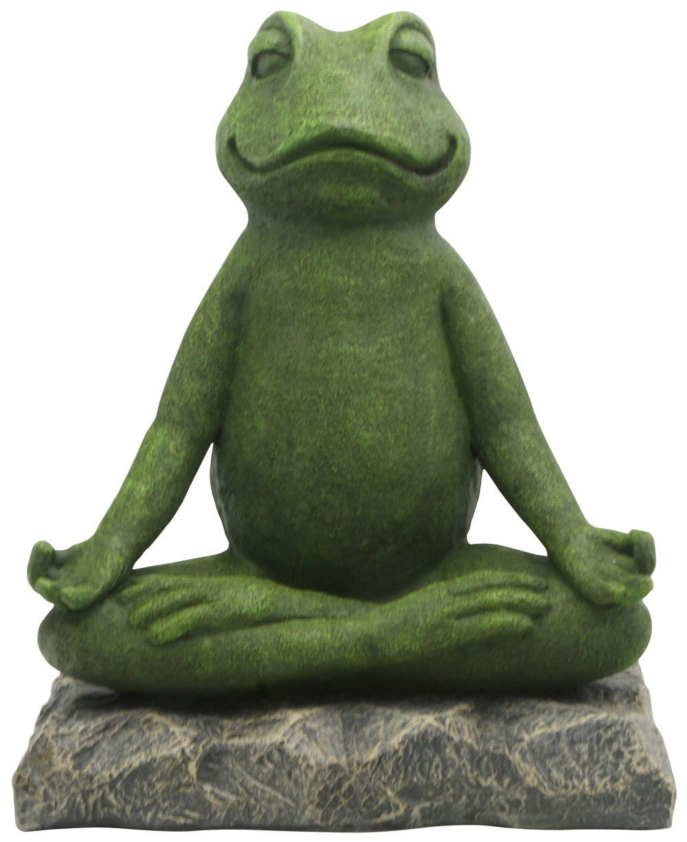 Buddha Groove Meditating Garden Yoga Frog Statue in Artistic Textured Finish Made of Cast Stone for Indoor Outdoor Use Sturdy Construction, Measures 11 Inches Tall