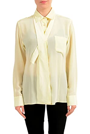 7ff8cd782456f9 Image Unavailable. Image not available for. Color: Maison Margiela 1 100% Silk  Off-White Button Down Women's Shirt ...