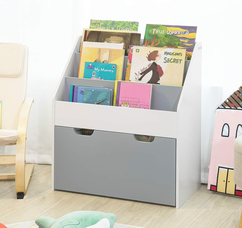 Haotian KMB17-HG, Children Kids Bookcase with Drawer and Wheels ,Book Shelf Storage Display Rack Organizer Holder