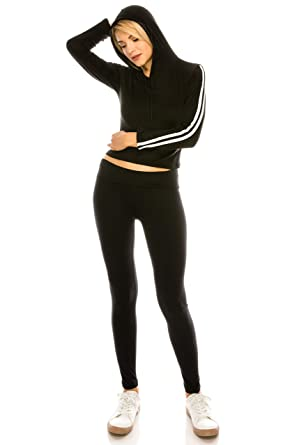 e340b5d4f427 ALWAYS Women Legging Top Tracksuit - Cropped Premium Buttery Soft Stretch  Long Sleeves Hoodie 2 Piece