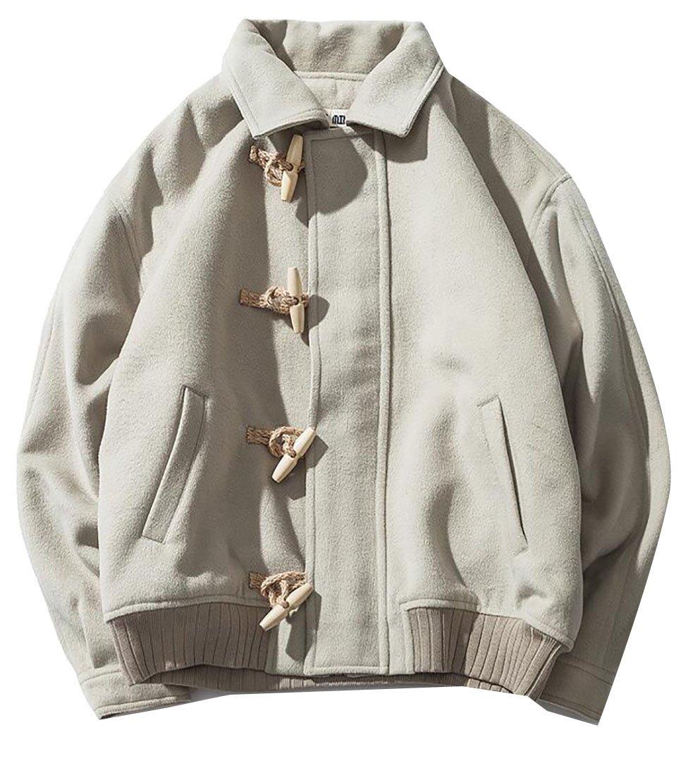 Pandapang Mens Casual Toggle Loose Thicken Short Overcoat Coat Jacket Light Green 2X-Large