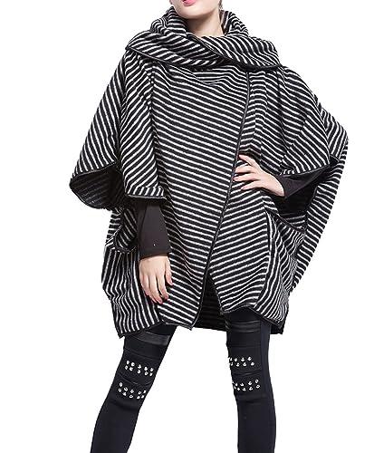 ellazhu Mujer Mode rayas Revers Raglán abrigo Outwear Onesize gy254