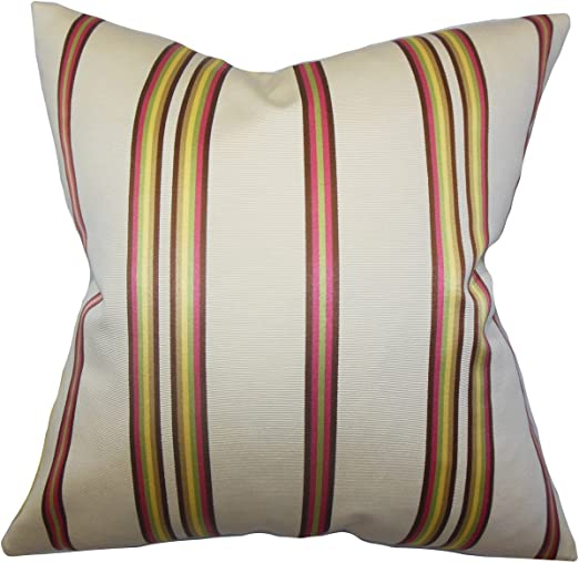The Pillow Collection Hatsy Stripes Bedding Sham White Pink King//20 x 36