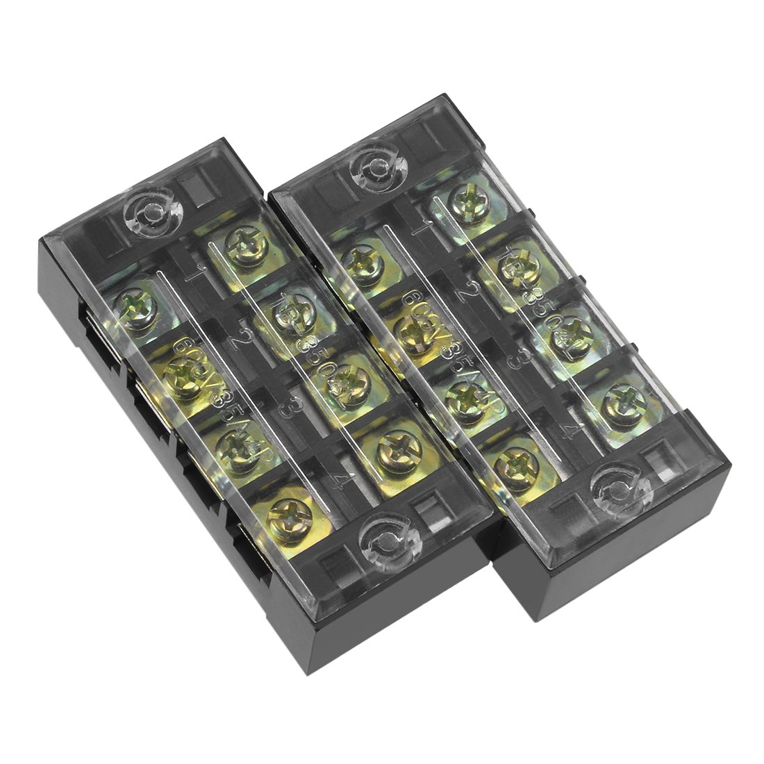 uxcell 2 Pcs 4 Positions Dual Rows 600V 45A Wire Barrier Block Terminal Strip TB-4504L