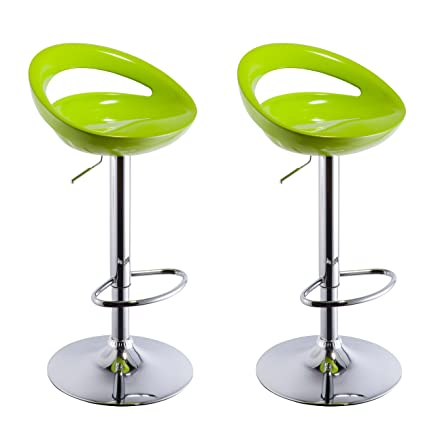 Fine Duhome 2 Pcs Swizzle Gloss Finish Crescent Shape Adjustable Swivel Bar Stools Kitchen Counter Top Green Bralicious Painted Fabric Chair Ideas Braliciousco