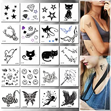Amazon.com : Temporary Tattoos for Girls, 20pcs Stickers Tattoos ...