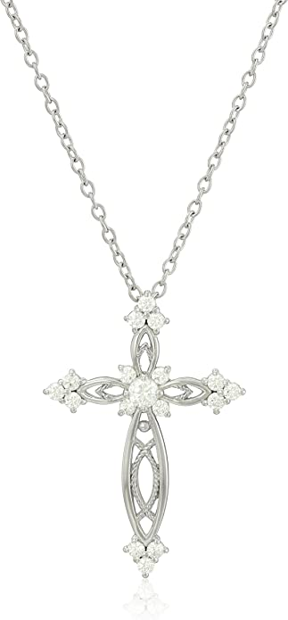 Aretha stunning women/'s 316L stainless steel Gold Cross Ladies pendant necklace