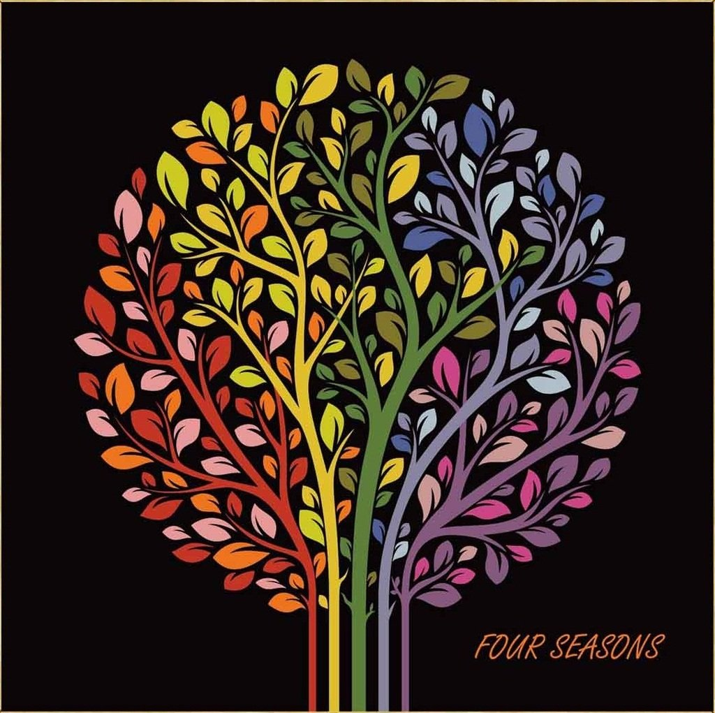 Colour Talk Diy oil painting, paint by number kits for kids - Four season tree 8X 8.