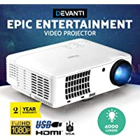 Devanti 4000 Lumens Portable Mini Video Projector with 200'' Projection Size for 1080P Home Cinema Movies Video Game…