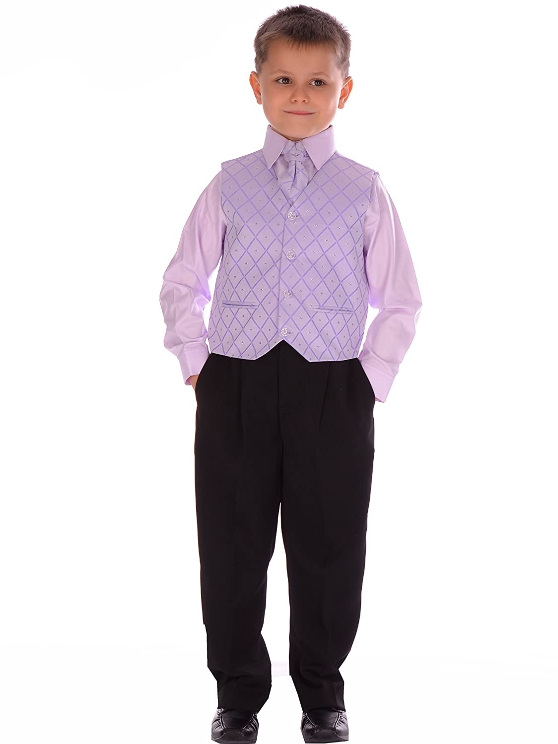 Boys Suit Formal Pageboy Wedding Suits 4 piece Black and Lilac 0-3months to 14-15 years