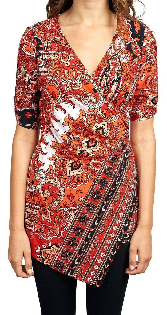 Joseph Ribkoff Red & Navy Paisley Print Faux Wrap Top Style 173676 - Size 8