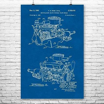 Amazon chrysler 220 slant six engine poster patent art print chrysler 220 slant six engine poster patent art print auto shop poster car engine malvernweather Choice Image