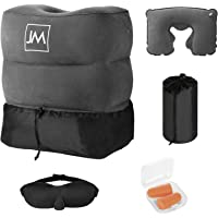 J&M Inflatable Foot Rest Travel Pillow - Leg Rest for Kids On Airplanes, Car Rides & Home Office - Portable Footrest Stool for Camping - Bed for Children/Baby During Long Flight + 5 Free Bonus Items
