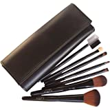 LyDia professional 7 pieces black face powder/foundation/concealer/eye shadow/angled makeup brush set with black case