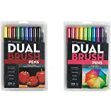 Tombow Dual Brush Pen Art Markers Set = Primary Colors (10 color pack) + Bright Colors (10 color pack)