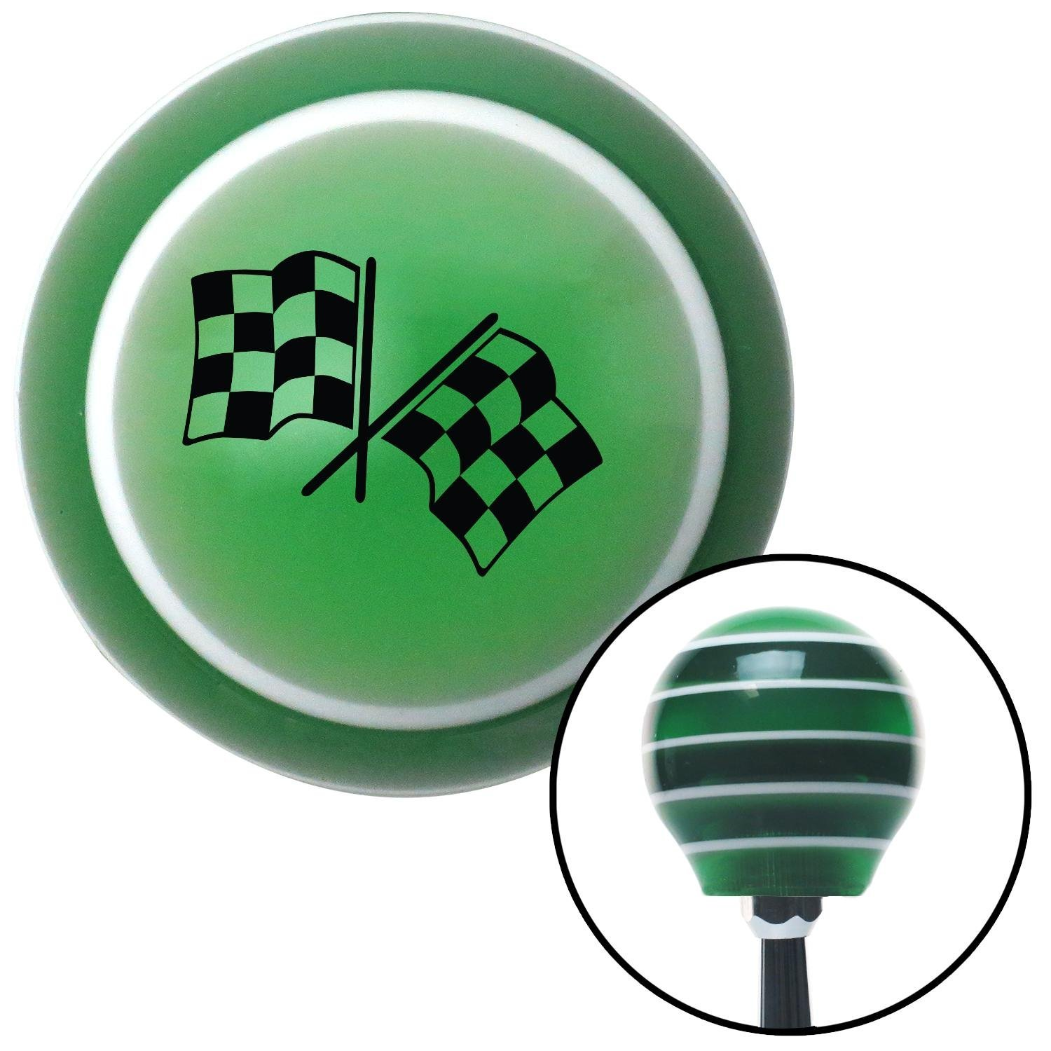 American Shifter 121482 Green Stripe Shift Knob with M16 x 1.5 Insert Black Dual Checkered Flags