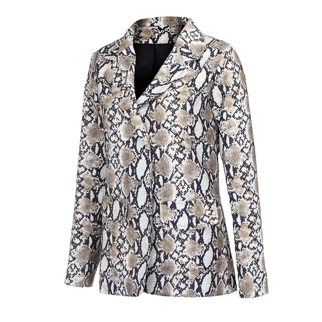 HDGJH Women Vintage Summer Snake Print Turn Down Collar Coat Female Outerwear Fashion Jackets
