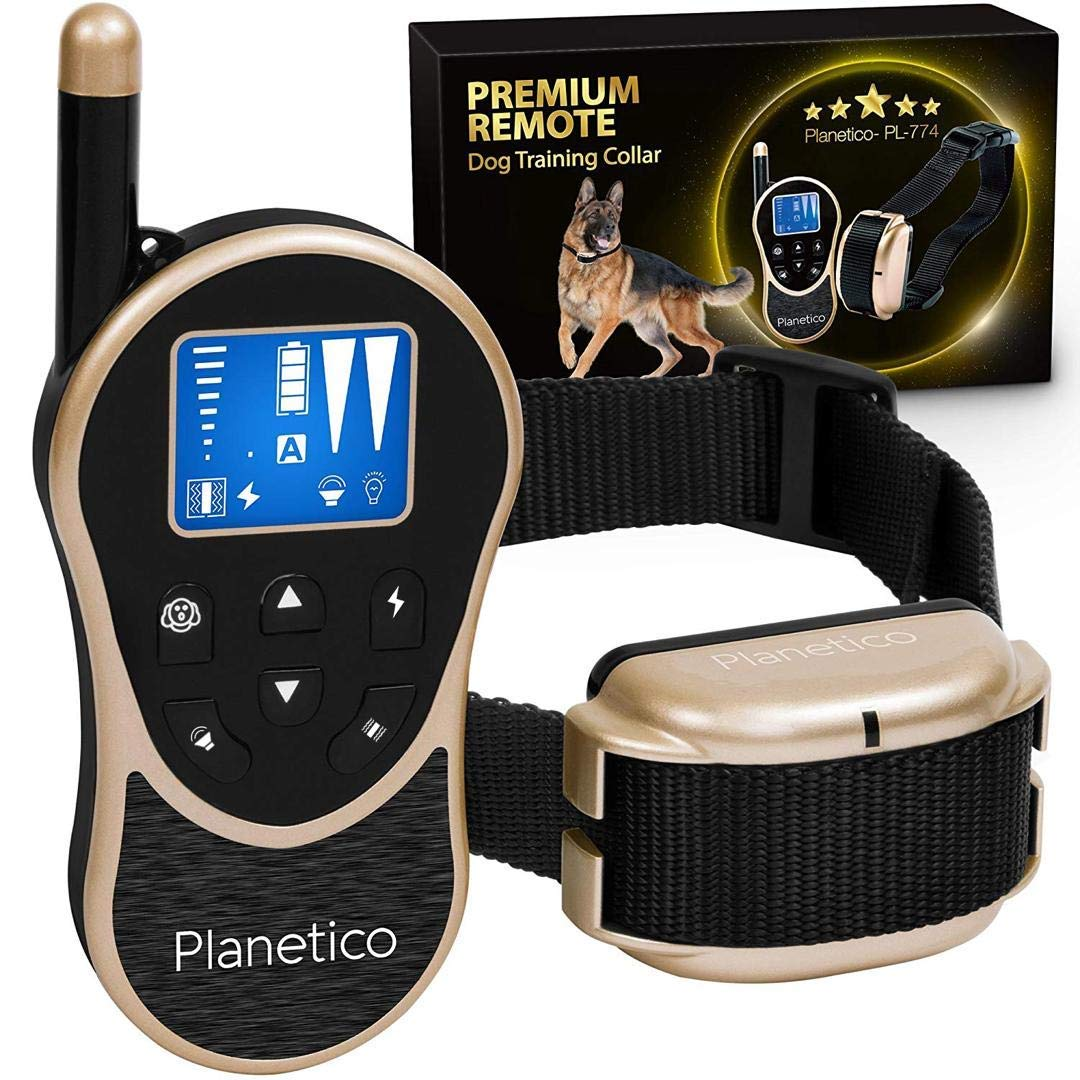 Remote Dog Training Collar, Large Clear LCD Screen, Bark & Behavior Control Device PL-774, Waterproof, Rechargeable, 2625 Ft Long Range, Beep / Light / Vibration / Shock Modes to Train Your Pet Safely by Planetico